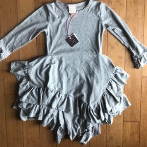NWT Lemon Loves Lime gray ruffled boutique dress